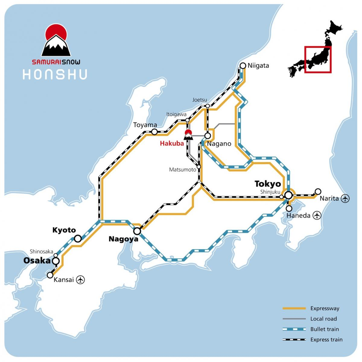 Getting to Hakuba Map