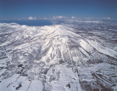 Beautiful aerial view of the Niseko United ski area