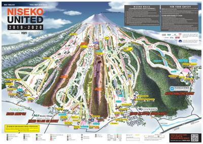 A Map of the Niseko United Ski Resort showing the ski lifts, piste runs and village locations