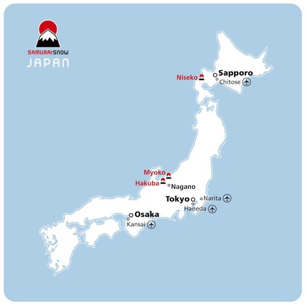 Flights SamuraiSnow - Japan map airports